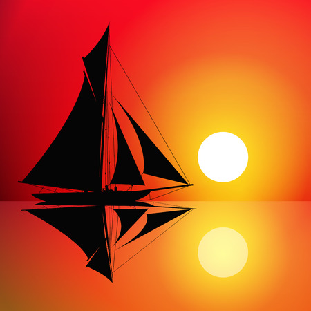 Sailboat on the ocean at sunset. Vector illustration