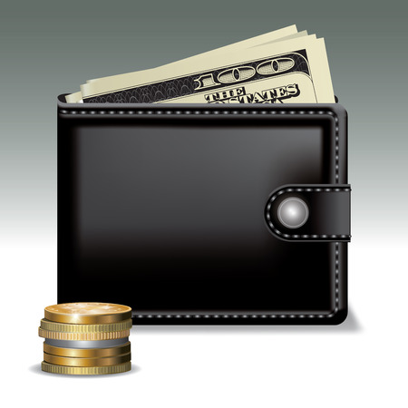 black leather: Black leather wallet with money isolated on background. Vector illustration