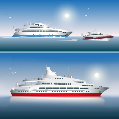 yacht: Luxury yachts isolated on sea background. Vector illustration
