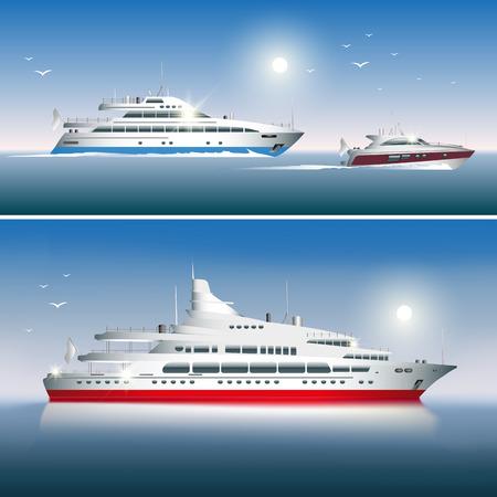 deportes nauticos: Yates de lujo aislado en el fondo del mar. Ilustraci�n vectorial