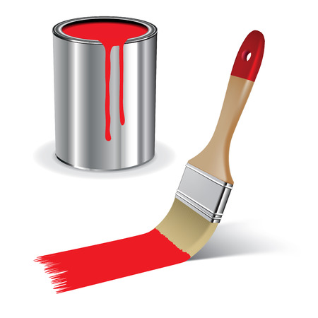 Brush and open paint can ready to be used on white background. Vector illustration
