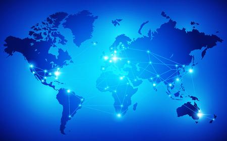 comercio: Mapa del mundo con nodos conectados por líneas. Ilustración vectorial