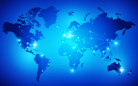 World map with nodes linked by lines. Vector illustration Illustration