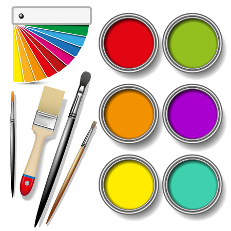 color swatches: Coloured swatches and paint cans with paintbrush on white background. Vector illustration