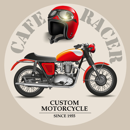 Cafe racer style motorbike with helmet on a white background. Vector illustration Çizim