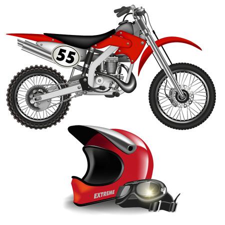 Motocross bici silhouette con casco isolato su bianco. Illustrazione vettoriale Vettoriali