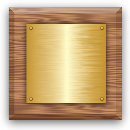 bronze texture: Wooden plaque with gold or brass plate isolated on white. Vector illustration Illustration