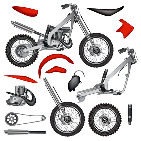 Motorcycle parts isolated on white background. Vector illustration