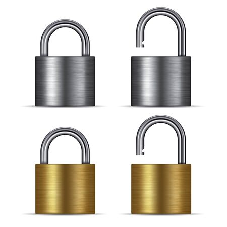padlock icon: Padlock in the open and closed position, isolated on white. Vector illustration