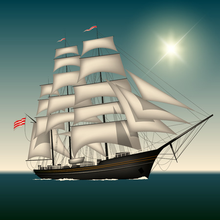 Sailing ship under full sail on the sea. Vector illustration