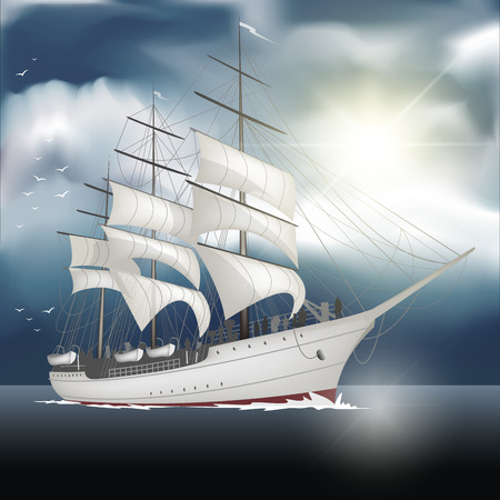 Sailing ship on the sea isolated on background. Vector illustration