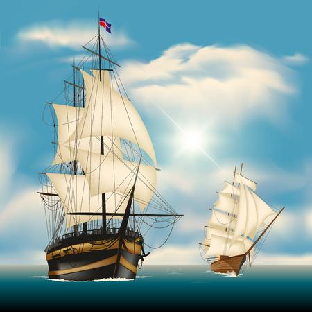 Sailing ships in vast sea. Vector illustration