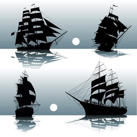Le navi a vela sul mare isolati. Illustrazione vettoriale Vettoriali