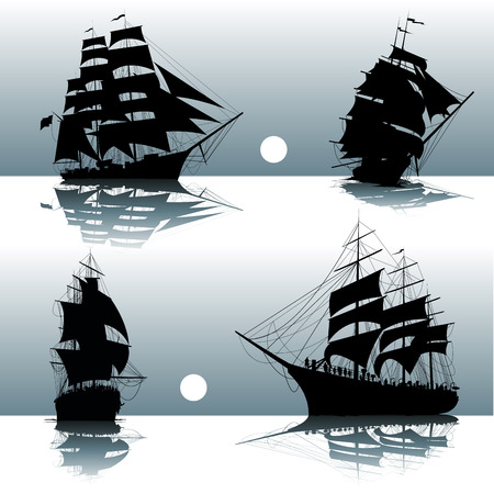 ancient ships: Sailing ships on the sea isolated. Vector illustration