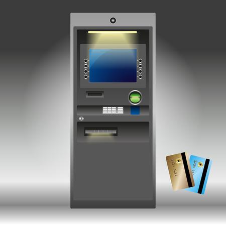 automatic transaction machine: Cajero automático detallada aislados en blanco. Ilustración del vector EPS 10