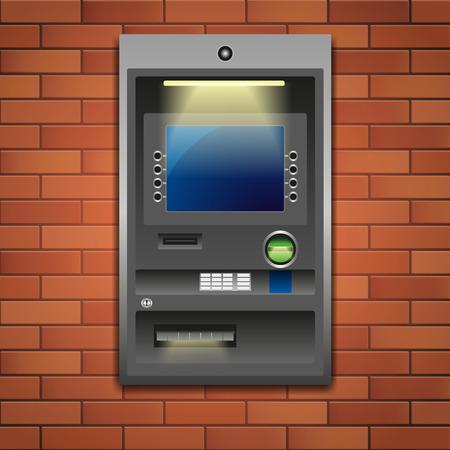 automatic transaction machine: Al aire libre Máquina de la atmósfera, depósito o retiro. Ilustración del vector EPS 10