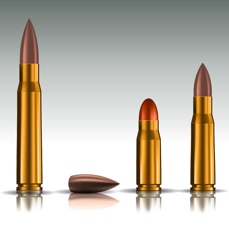 bullets: Rifle bullets over white background. Vector illustration EPS 10
