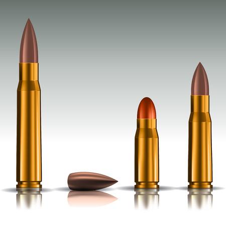 ammo: Rifle bullets over white background. Vector illustration EPS 10