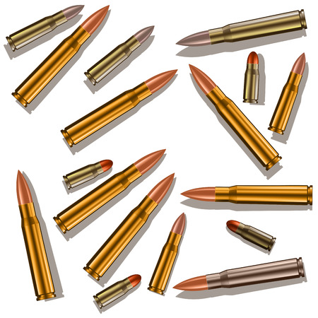 death metal: Bullets for a gun isolated on white background. Vector illustration EPS 10 Illustration