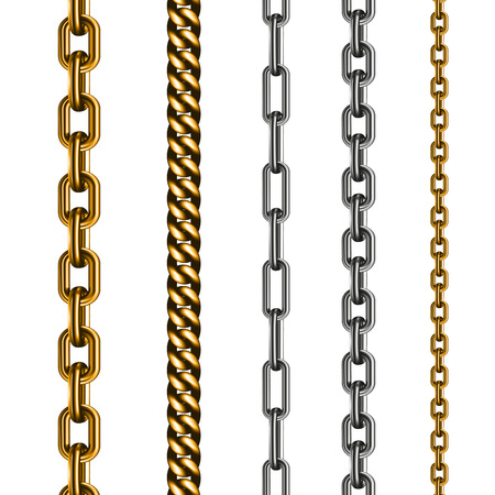 gold chain: Set of chains made of different metals isolated on white. Vector illustration EPS 10