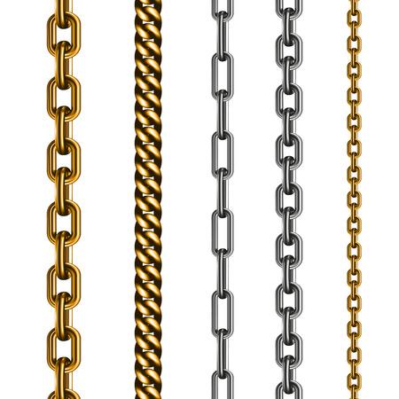 Set van kettingen gemaakt van verschillende metalen op wit wordt geïsoleerd. Vector illustratie EPS 10 Stockfoto - 38250762