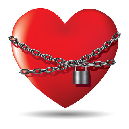 lock concept: Red heart locked with chain. Vector illustration EPS 10