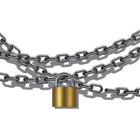 safety lock: Metal chain and padlock isolated on white. Vector illustration EPS 10 Illustration