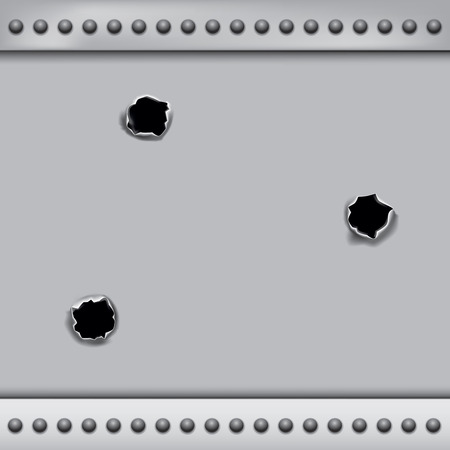 impact: Bullet holes isolated on metal plate background. Vector illustration EPS 10
