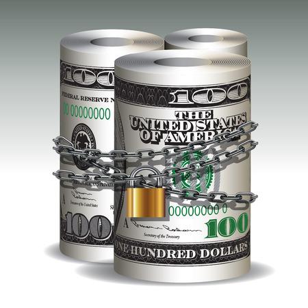 hundred: Safe secure chain locked of hundred dollars roll. Vector illustration