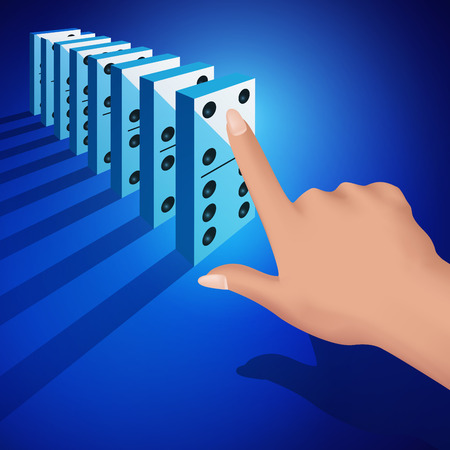 chain reaction: Hand pushing dominoes concept isolated on white background. Vector illustration
