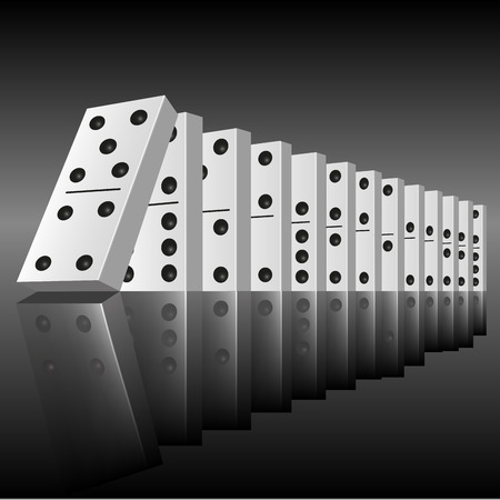Black dominoes in a row ready to begin to falling. Vector illustration Vettoriali