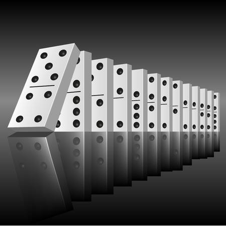 Zwarte domino op een rij klaar om te beginnen aan te vallen. Vector illustratie