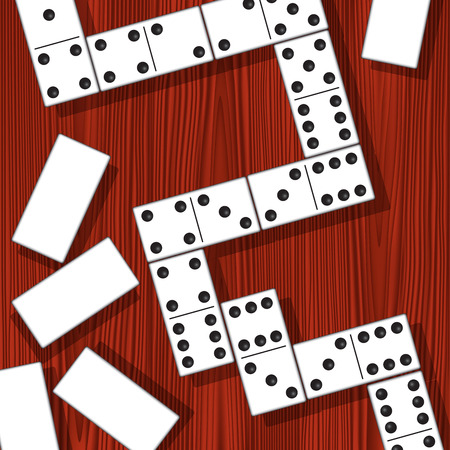 domino effect: Domino pieces isolated on the table. Vector illustration Illustration