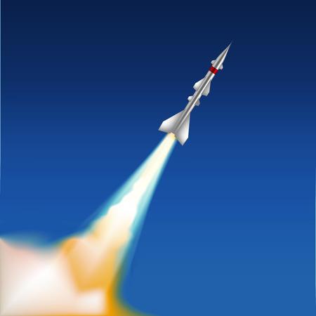 ballistic missile: Flying missile in night sky. Vector illustration Illustration