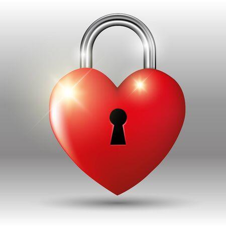 Heart shaped padlock isolated on white. Vector illustration Vector