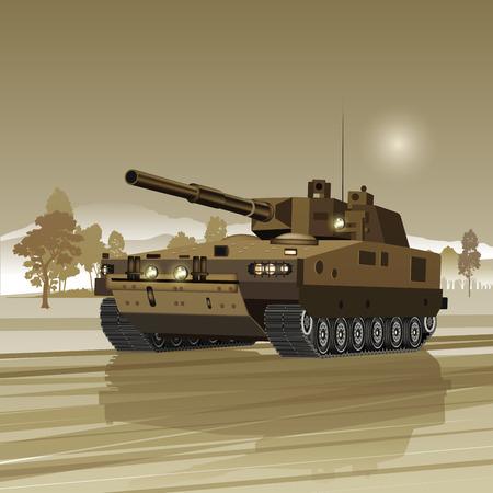 tanque de guerra: El tanque militar aislado en el fondo. Ilustraci�n vectorial
