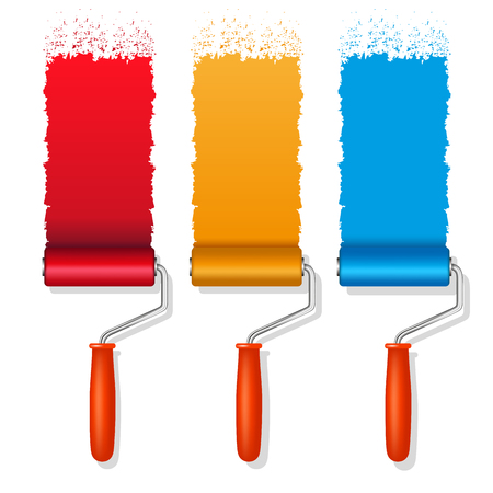 blue paintroller: Set of colorful paint roller brushes. Vector illustration