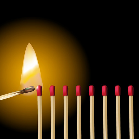 chain reaction: A line of red safety matches and burning match ignition. Vector illustration