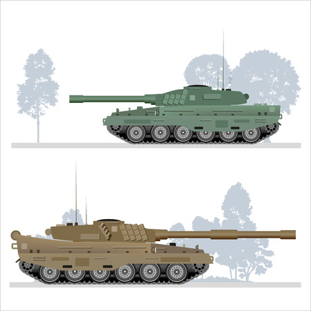 wartime: Military tank on white background. Vector illustration