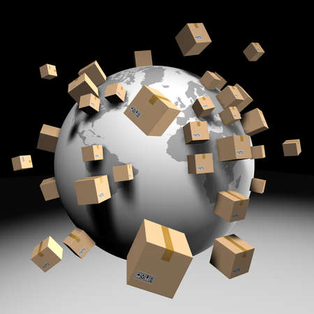 packer: Shipping worldwide cardboards isolated on background. Clipping path Stock Photo
