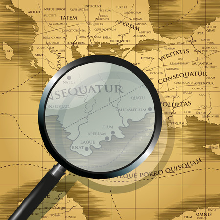 összpontosított: Magnifying glass focused on old abstract map. Vector illustration