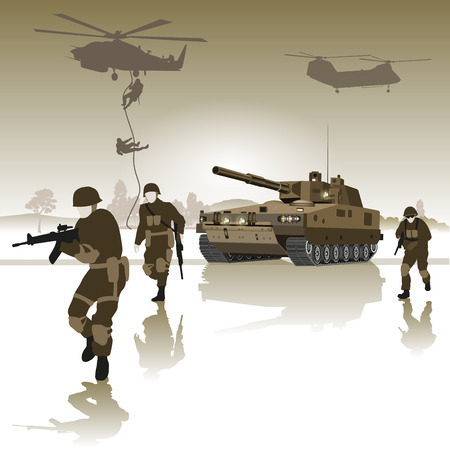 Tank and group of soldiers running across the field. Vector illustration