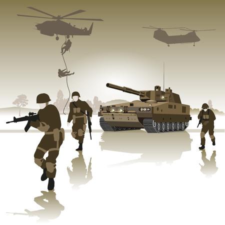 Tank en de groep soldaten die dwars over het veld. Vector illustratie Stock Illustratie