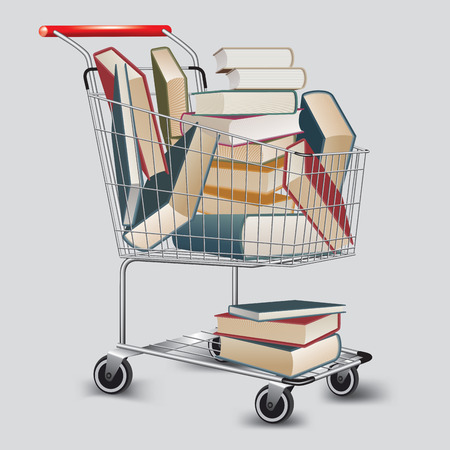 book shop: Many books on shopping cart. Vector illustration