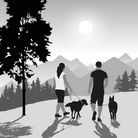 Silhouette of a couple walking their dogs on sunset. Vector illustration Illustration