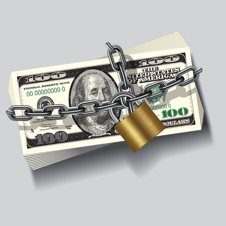 Safe securite chain locked stack of hundred dollars. Vector illustration Vector