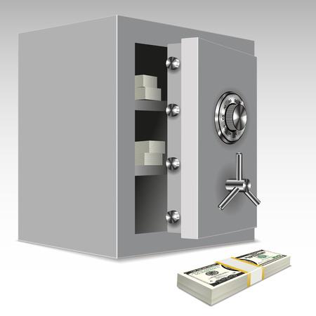 safe deposit box: Security metal safe with money inside. Vector illustration