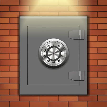 Security safe in the wall. Vector illustration