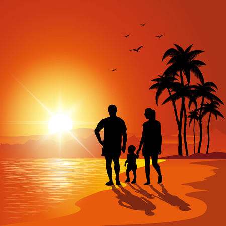 couple beach sunset: Parents and child walking on the beach at bunset. Vector illustration Illustration