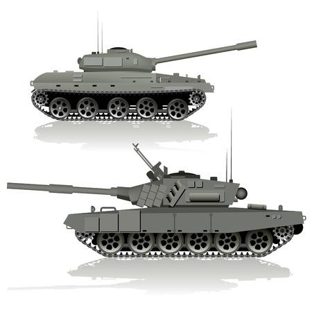tanque de guerra: Tanques militares aislados sobre fondo blanco. Ilustración vectorial Vectores